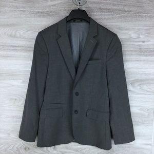 Grey Wool Blend Suit Jacket
